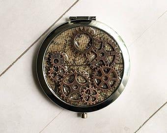 Steampunk Mirror, Steampunk hand mirror, Compact Mirror, pocket mirror, steampunk gear, gift for her, gift for him, Best Friend Gift