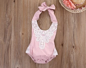 Pink baby lace Romper good for Photo shoots or smash cake pictures