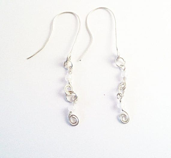 White earrings, dangle earrings, drop earrings, mother's day earrings, bridesmaid gift, bridal shower, maid of honor gift, easter, mom