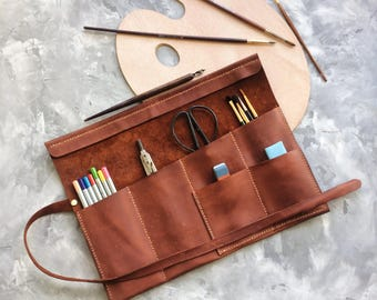 leather roll, artist roll, leather pencil roll, leather pencil case, leather tool roll case, paint brush holder, craft tool roll,Pencil Wrap