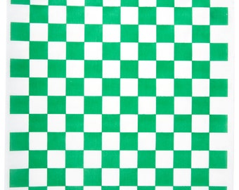 """Green Checkered Wax Liners 12"""" x 12"""" ( 100 Sheets)"""