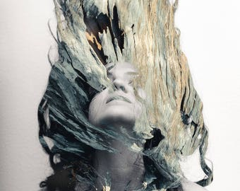 Sculptural Photography, Spanish Woman's Hair, Tree Woman, Wooden Hair, Feelings, Visual Poetry Photography, Body, Print