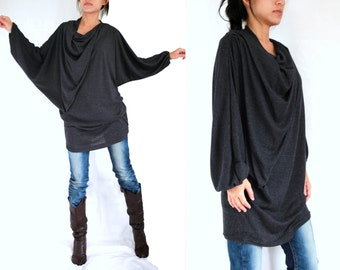 Boho Oversized Women Black Blouse / Long Sleeve Black Tunic - Oversized Tunic / small medium large dolman sleeve top mini dress - 11275