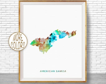 American Samoa Map Art American Samoa Print, Samoa Art Print, Home Decor, Wall Art Decor, Home Wall Decor, Watercolor Painting, ArtPrintZone