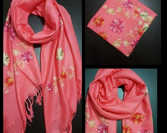 FLORAL scarfs Hand embroideries scarfs/ ladies high quality stylish  embroidered scarf with luxury  pashmina feel  scarf /summer scarfs