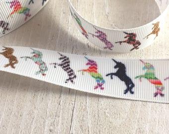 7/8 (22mm) Unicorn print grosgrain Ribbon