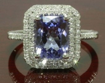 14K Gold Ring with a 2.50 ct Cushion D-Block AAA Tanzanite and Diamonds