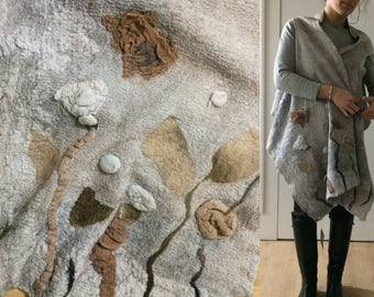 Felted wool, Women light grey nuno felt top, Wearable Art Clothing, felted clothing, wool Top,  Hand made, poncho