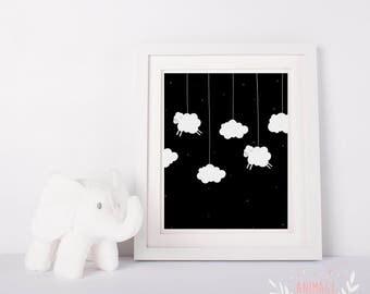 Digital poster file decoration design room kid nursery baby cloud sheeps stars sky sheep