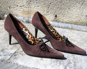 Suede shoes High heels to heel Brown vintage womens Retro Wedding shoes 39 size 9 US 7 UK Pumps shoes Lady gift Gift for women gift shoes