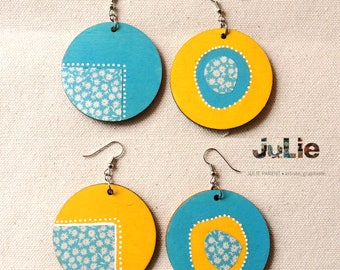"""Earrings, was Provence, medallions wood 2 """"painted by hand on the 2 sides, yellow and blue, collage origami paper"""