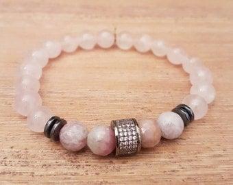 Unisex bracelet, Elegant-01, rose Quartz and Agates