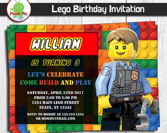 Lego City Birthday Party Invitations Www Picturesso Com
