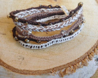 brown shades boho lucet bracelet