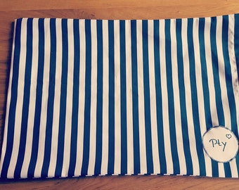 Personalized pillow case with blue and white stripes