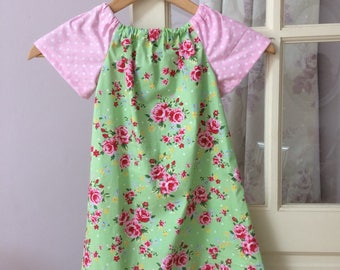 Girls summer dress, Green & pink dress, cotton roses dress, 4-6y dress, vintage style dress, girls dress, vintage rose dress, 3 in 1 dress.