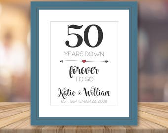 50th Wedding Anniversary Gifts Print Artwork Personalized Cotton Art Print Custom Wall Art Cotton Fabric Unique Gifts Customized Presents