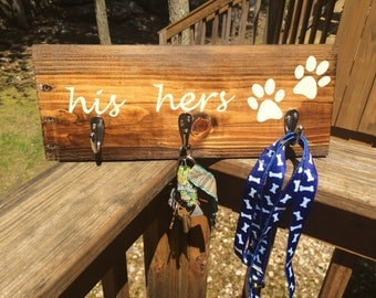 His Hers Dog Key/Leash Pallet sign
