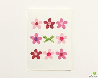 Handmade card, blank card, flowers