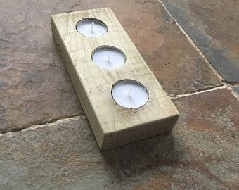 Pallet tealight holder, wooden centerpiece, modern cabdke holder, block tealight holder, reclaimed timber, wooden candle holder