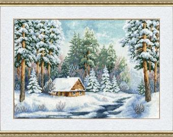 Cross stitch pattern PDF winter, Cross stitch pattern PDF forest in winter, Cross stitch pattern PDF forester's house