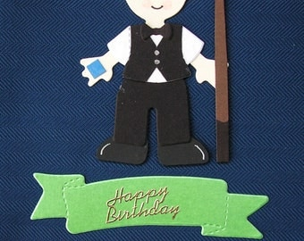 Sizzix die-cut figure of a snooker player with cue and chalk