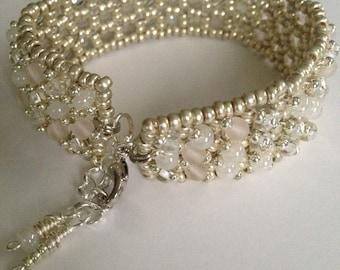 White and Silver Beaded Bracelet, White Bracelet, Silver Bracelet, Unique Bracelet