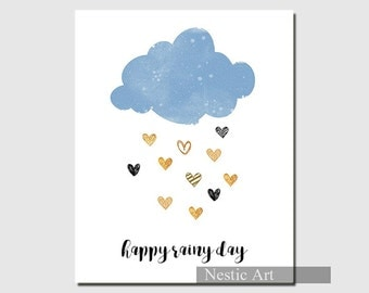 """Happy Rainy Day - greeting card, blue cloud, gold rain, print, illustration, friend, Home, gift, 12x16, letter size, A2. 8""""x10"""", 5""""x7"""""""
