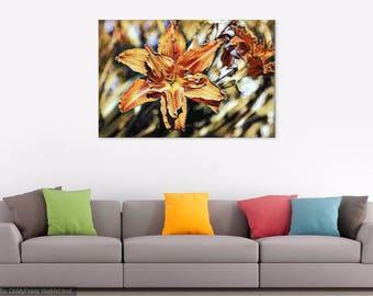 Orange Lily Photographic Print; Flower; Photograph; Enhanced Photo; Nature; Canvas Art