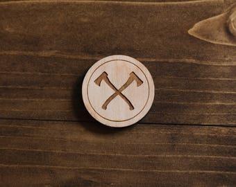 Wooden Double Axe Lumberjack Pin - Laser Cut Pin
