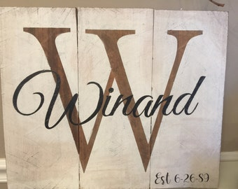 Personalized sign on rustic/ pressure treated wood , made to order