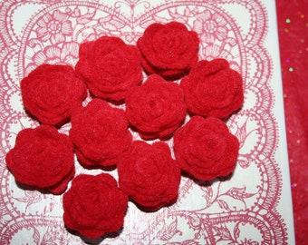 Ten Red Felt Rolled Roses #E-0141