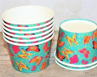 12 Butterflies Ice Cream Paper Cups 8oz. Great for treats or dessert. Party supplies.