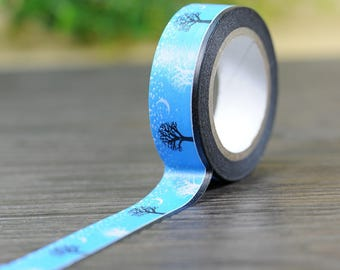 Moonlight Japanese Blue Washi Tape. Scrapbook and Stationery Tape. Pretty Tape.