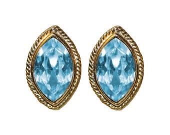 Earrings Clips VINTAGE - oval blue sky