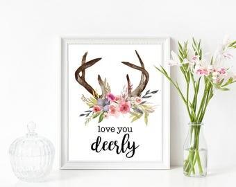 Love You Deerly Floral Antler Digital Print, Instant Download, Love You Deerly, Floral Antler Print, Nursery Decor, Floral Print