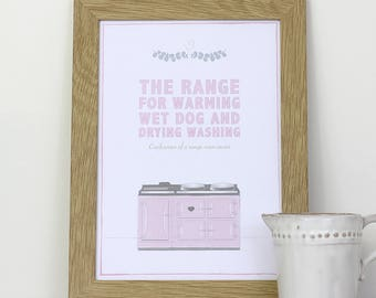 A4 framed wall print for your kitchen – The range, for warming wet dog and drying washing