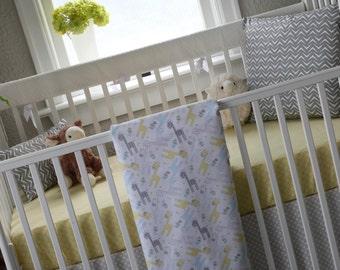 Gender Neutral Crib Bedding/Yellow Crib Bedding/Giraffe Crib Bedding/Neutral Baby Bedding/Yellow and Grey Crib Bedding/Yellow Crib Bedding