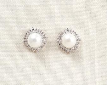 Wedding Bridal Pearl and Swarovski Crystal Earrings JSB10072ESilver