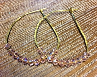 Hammered Hoop Eaarings with Bead Accent