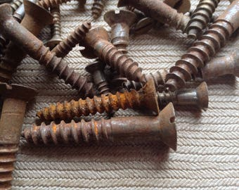 """Lot of Rusty Screws for Steampunk, Industrial, Assemblage, Mixed Media Project / 15 ounces of mixed screws 1/2"""" to 2 1/2"""" long"""