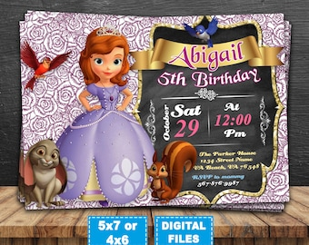 Sophia the first invitation, sophia the first birthday party, sophia the first printable, princess sophia invite, disney princess invitation
