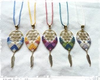 "ON SALE ! * Dreamcatchers "" SeedS Of LIFE of the 5 wisdoms "" Handmade Sacred Geometry Makramé Jewelry"