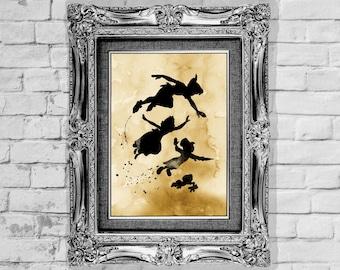 Peter Pan Poster Disney Poster Watercolor Print Disney Print Art  Print Wall Decor Instant Digital Download