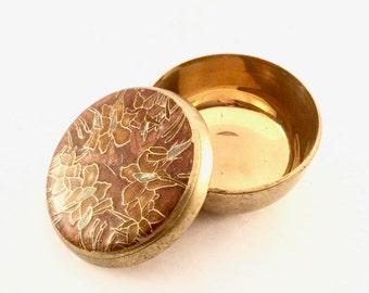 Brass Trinket Box with Enamel Lid