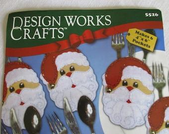 Christmas Felt Kit, Santa Face Silverware Pocket Felt Kit, Opened Kit But Complete Kit, Designed Works Crafts, Makes 6 Silverware Pockets