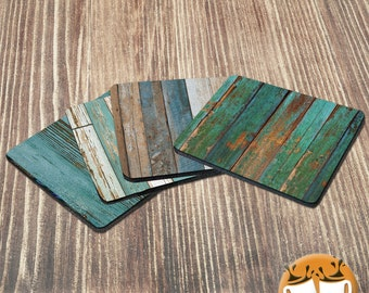 Set of 4 Turquoise Wood Coasters - Gifts under 20 - Rubber Backed - Coaster for Drinks - Turquoise Lover Gift - Rustic Barn - Neoprene