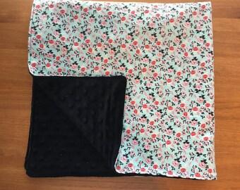 Baby Girl Black & Floral Blanket
