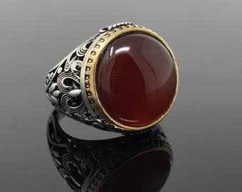 Well Handcrafted 925K Sterling Silver Red Agate (Aqeeq) Men's Ring -USA- I1L Gift for Him