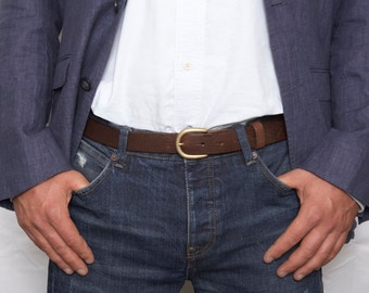 Mens brown leather dress belt with detachable buckle